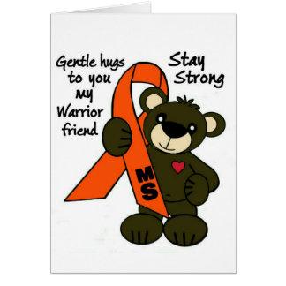 MS   ( Multiple Sclerosis ) teddy bear ribbon Card