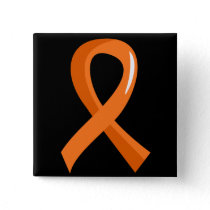 MS Orange Ribbon 3 Pinback Button