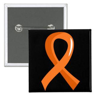 MS Orange Ribbon 3 Pinback Button