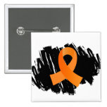 MS Orange Ribbon With Scribble Pinback Button