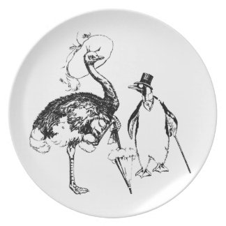 Ms Ostrich and Mr Penguin Melamine Plate