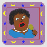 Ms Perl Sings The Blues - azules arte popular Calcomanía Cuadrada