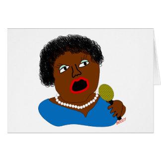 Ms. Perl Sings The Blues - Blues Folk Art Greeting Card