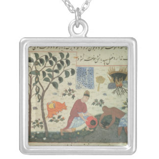 Ms Pers 332 Pepper tree and preparing pepper Silver Plated Necklace