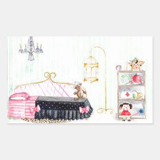 Ms. Pig E. Banks Child`s Bedroom Watercolor Art Rectangular Sticker