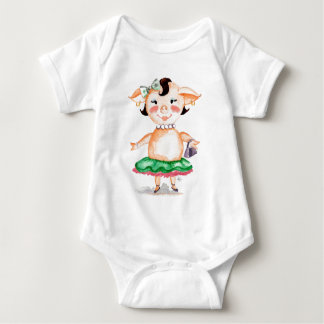 Ms. Pig E. Banks Watercolor Art Baby Bodysuit
