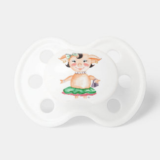 Ms Pig E Banks Watercolor Art Baby Pacifier