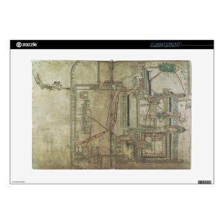 """Ms R 171 f.285 Plan of Canterbury Cathedral and th 15"""" Laptop Decal"""