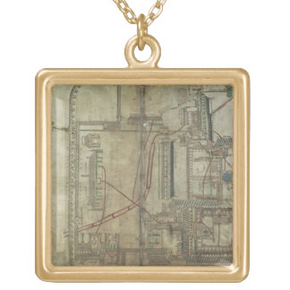 Ms R 171 f.285 Plan of Canterbury Cathedral and th Gold Plated Necklace
