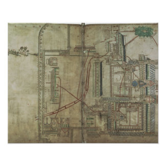 Ms R 171 f.285 Plan of Canterbury Cathedral and th Poster