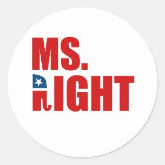 MS. RIGHT CLASSIC ROUND STICKER