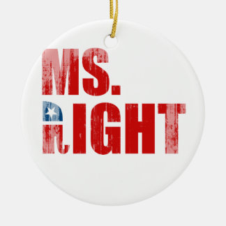 MS. RIGHT Faded.png Double-Sided Ceramic Round Christmas Ornament