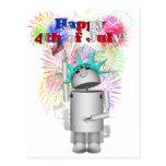 Ms Robo-x9 Celebrates the 4th of July! Postcard
