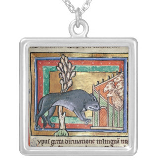 MS Roy A wolf outside a sheep fold Silver Plated Necklace