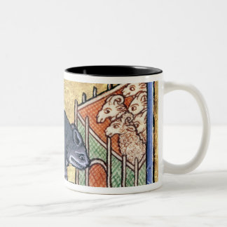 MS Roy A wolf outside a sheep fold Two-Tone Coffee Mug