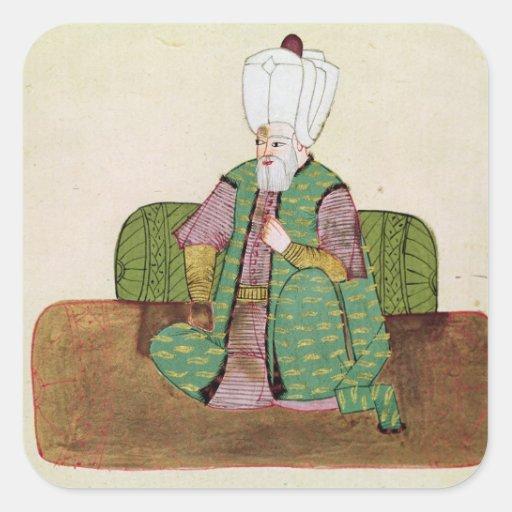 Ms sultán 1971 Suleyman I Pegatinas Cuadradas