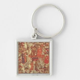 Ms. Supp. Pers.Genghis Khan and his wife Silver-Colored Square Keychain