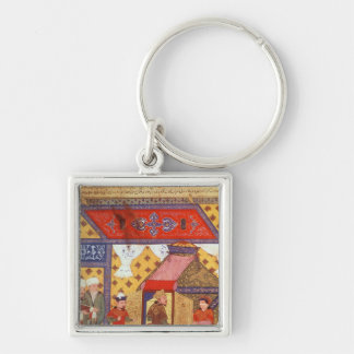 Ms. Supp. Pers.Pavilion tents erected by Ghazan Silver-Colored Square Keychain
