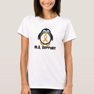 MS Support Penguin Orange Ribbon Awareness T-Shirt