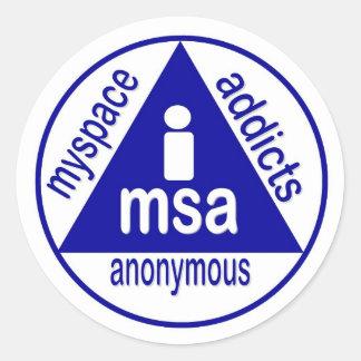 MSA:  Adictos a MySpace anónimos Pegatina Redonda