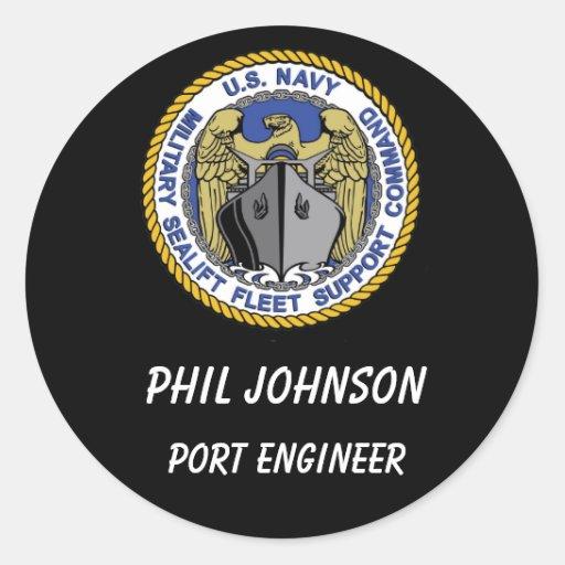 MSFSC Logo Blk Backgroung, Port Engineer, Phil ... Classic Round Sticker