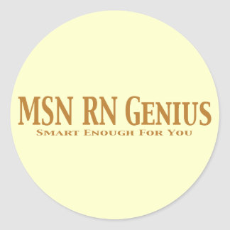 MSN RN Genius Gifts Classic Round Sticker