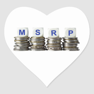 MSRP - Manufacturer's Suggested Retail Price Heart Sticker