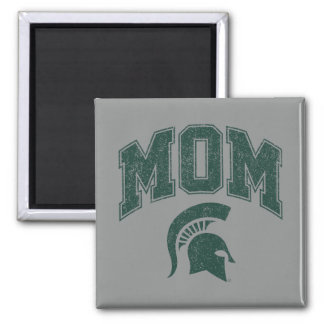 MSU Mom Distressed 2 Inch Square Magnet