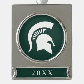 MSU Spartan Silver Plated Banner Ornament