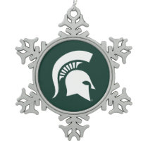 MSU Spartan Snowflake Pewter Christmas Ornament