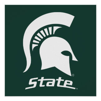 MSU Spartan with State Poster