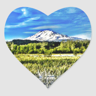 Mt Adams Towers over Trout Lake Heart Sticker