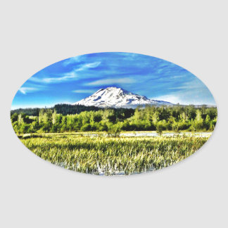 Mt Adams Towers over Trout Lake Oval Sticker