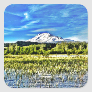 Mt Adams Towers over Trout Lake Square Sticker