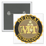 MT BADGE LOGO - MEDICAL TECHNOLOGIST - LABORATORY PINBACK BUTTON