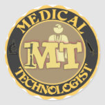 MT BADGE LOGO - MEDICAL TECHNOLOGIST - LABORATORY CLASSIC ROUND STICKER