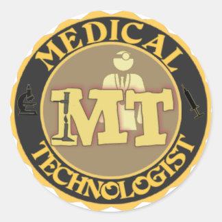 MT BADGE LOGO - MEDICAL TECHNOLOGIST - LABORATORY ROUND STICKER