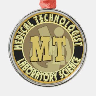 MT BADGE MEDICAL TECHNOLOGIST - LABORATORY ROUND METAL CHRISTMAS ORNAMENT