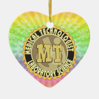 MT BADGE MEDICAL TECHNOLOGIST - LABORATORY Double-Sided HEART CERAMIC CHRISTMAS ORNAMENT