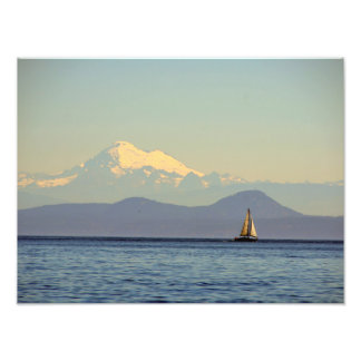 Mt. Baker and Sailboat - Puget Sound, Washington Photo Print