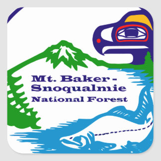 Mt Baker - Snoqualmie National Forest logo Square Stickers