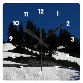 Mt Baker Summer Dusk Square Wall Clock