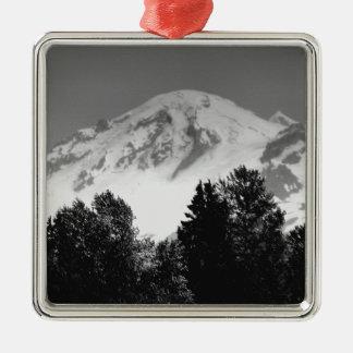 Mt. Baker Through Trees Metal Ornament