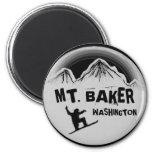 Mt. Baker Washington black white snowboard magnet