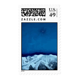 mt blanc lune moon painting stamp