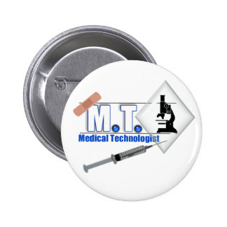 MT BLUE W/ MICROSCOPE - MEDICAL TECHNOLOGIST LAB 2 INCH ROUND BUTTON