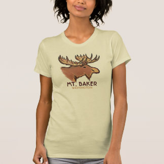 Mt. Camiseta marrón de las señoras de los alces de