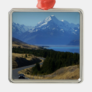 Mt. Cook, New Zealand Square Metal Christmas Ornament