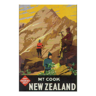 Mt Cook New Zealand Vintage Travel Poster