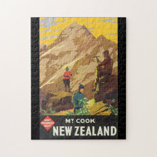Mt Cook New Zealand Vintage Travel Poster Puzzle
